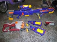 I have 5 almost new nerf guns for sale, they all work,