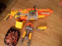 machine nurf gun with gun, stand, shells,scope, and