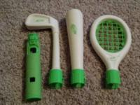 Wii Nerf golf club, tennis racket and baseball bat.
