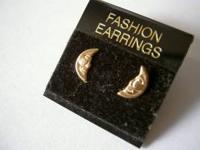 NEW 14K SOLID GOLD HALF-MOON POST EARRINGS - Retail