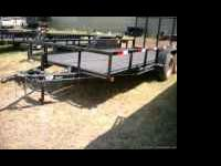 "New 16ft Tandem Axle Trailer w/Ramp Gate -- 77"" wide,"