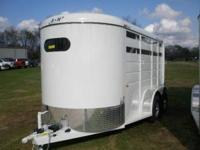 This is a new S&H Duster 2 horse slant load trailer,