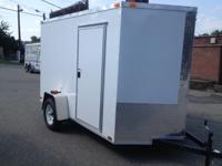 BRAND NEW 2014  6X10+ 2' V NOSE ENCLOSED TRAILER WHITE
