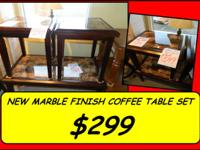 New 3 Item Marble Finish Coffee Table and 2 End Tables