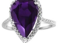 New 5 Carat Amethyst Diamond Accent Sterling Silver