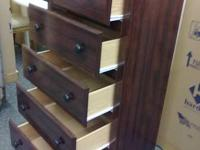 For sale is an all new rosewood cherry 5 drawer chest