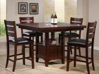 NEW 5 PC Dining Set Counter Height Bonded Leather