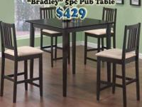 The Merlot, a Beautiful 5pc Hardwood Pub Table set.