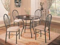 BRAND NEW SET INCLUDES GLASS TOPPED TABLE AND 4 PADDED