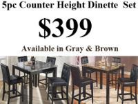 Brand new 5pc Counter height dinette set $399. We sell