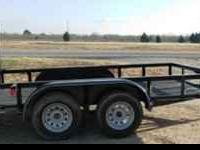 New 6X12 Tandem Axle Trailer w/Ramp Gate – Black,