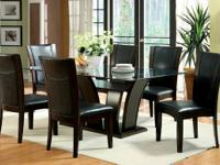 New! 7 Piece Dark Cherry Finish Dining Room Set for