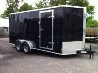 NEW 7 X 16 PLUS V-NOSE , 7 FT INTERIOR HEIGHT ENCLOSED