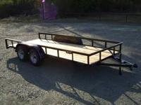 "New 77""x16' tandem axle utility trailer, new 15"" tires,"