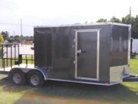 New 2015 7x18 tandem axle hybrid trailer with porch and