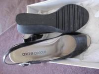 New Andre Assous Jori-6 black patent leather wedges,