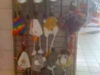 Large selection of animal hats, great for the cold and