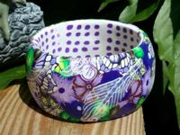 Brand new artisan flower bangle bracelet is made