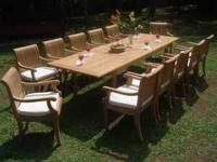 Includes: (1) Teak Rectangular Extendable Table 42 x