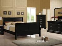 New! BLACK or CHERRY Queen or Full Sleigh Bed, Dresser,