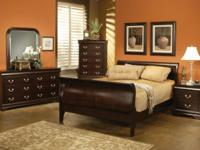 New cappuccino color queen size bed frame, louis