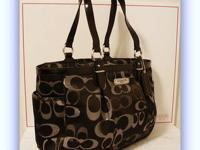 Brand New Coach Gallery Optical Signature Metallic Tote