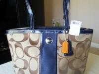 NEW COACH SIGNATURE STRIPE TOP HANDLE TOTE - Asking:
