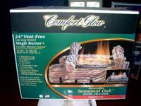 "NEW COMFORT GLOW VENTLESS 24"" SEASONAL OAK GAS LOG"