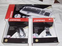 BRAND NEW COMPAQ KEYBOARD, MOUSE AND WEBCAM. NON