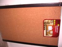 Brand new cork bulletin board by Quartet in mahogany