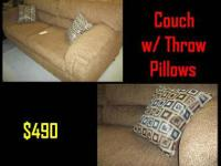 "Featured Item **NEW** Couch with Throw Pillows 86"" x"