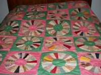 "NEW Dresden Plate Quilt measures 83"" x 83"" with 36"
