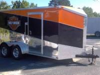 New 7x14 tandem axle enclosed cargo trailer. Harley