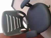 New black ergonomic, mesh office chair with padded arms