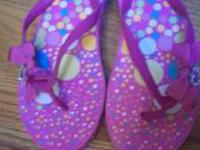 New Flip Flops: Pink Polka Dot (clear tag on bottom)
