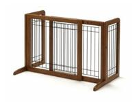 Wood gate from Four Paws safely secures pets without