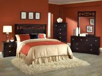 003 FULL/ QUEEN 5PC. CHERRY BEDROOM SET WITH FRAME JUST