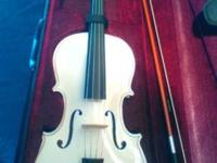 New Full Size White Viola with Case Bow and Rosin Very