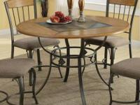 Hillsdale Brown Round Dining Table with Slate Shelf