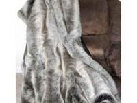 Luxurious HUGE Soft Fur Throw CHINCHILLA WOLF FOX JUST