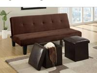 BRAND NEW CHOCOLATE MICROFIBER ADJUSTABLE SOFA BED WITH