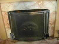 BRAND NEW IN BOX,STYLISH FIREPLACE SCREEN WITH 4 TOOLS