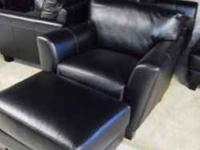 New Italian Black Leather Sofa, Love, Chair, ottoman,