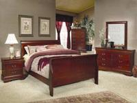 New King Sleigh Bed, Dresser, Mirror & Night Stand