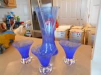 Beautiful blue crystal Martini pitcher with stir stick