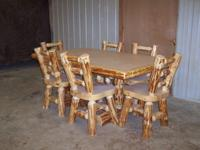 "NEW LOG DINETTE SET WITH 6 CHAIRS 42""x 6'"