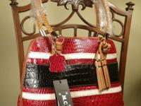 Red croco embossed body with black and white horizontal