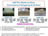 WE CURRENTLY HAVE ALL SIZE MATTRESSES IN EITHER PLUSH,