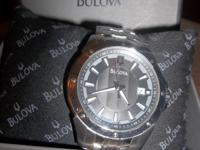 This is a new stainless steel Bulova watch from the