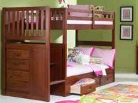 Twin size over twin size solid wood stair stepper bunk